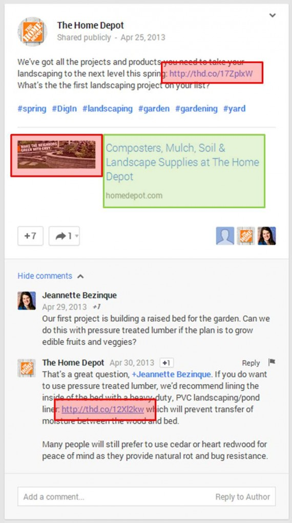 Home Depot on Google+ screenshot.