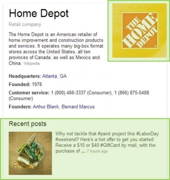 Home Depot's Knowledge Graph SERP screenshot.
