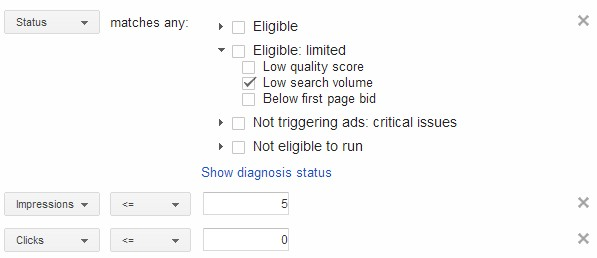 Low search volume keywords filter.