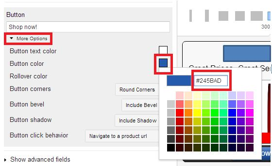Customize ad colors.