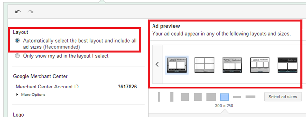 Select ad sizes.