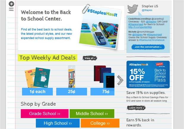 Create a page dedicated to back-to-school products and sales. Example from Staples.