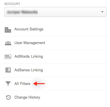 "Select ""All Filters"" in Google Analytics' Admin screen."