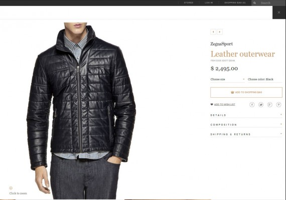 Zegna is an example of a luxury product site.