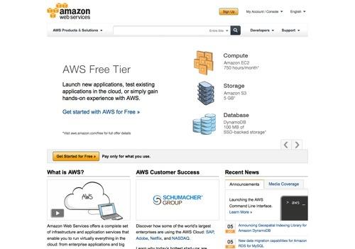 Amazon Web Services website