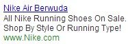 Dynamic search ad with product headline.