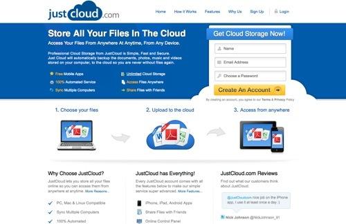 JustCloud website