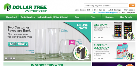 Dollar Tree home page.