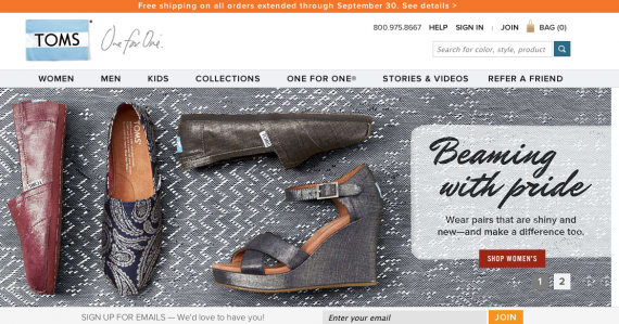 Toms Shoes home page.