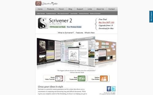 Scrivener website