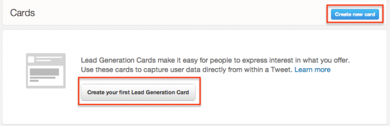 Twitter Lead Generation Card landing page