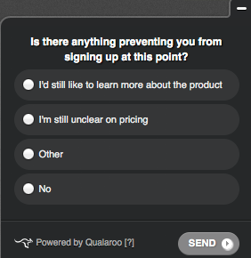 Qualaroo lets you ask your customers questions.