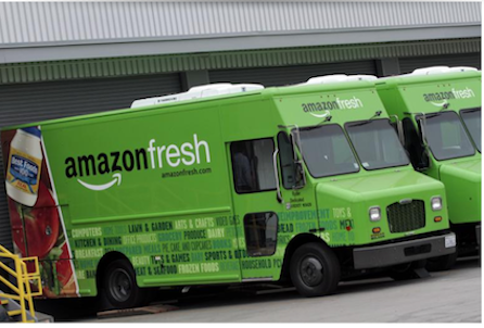 AmazonFresh trucks. Photo credit: Reuters.