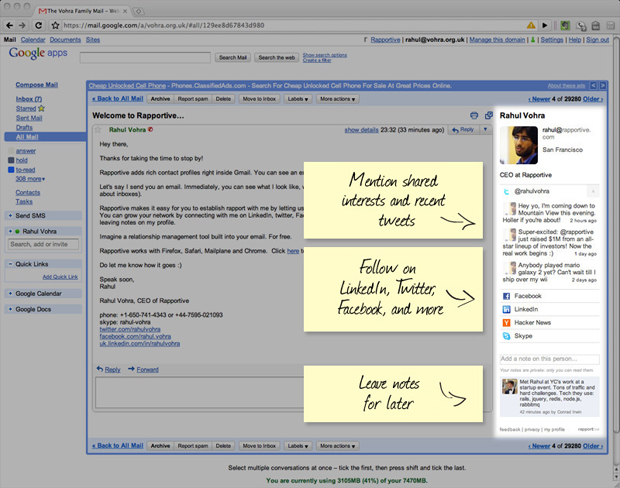 Rapportive provides public social media information for your Gmail contacts.