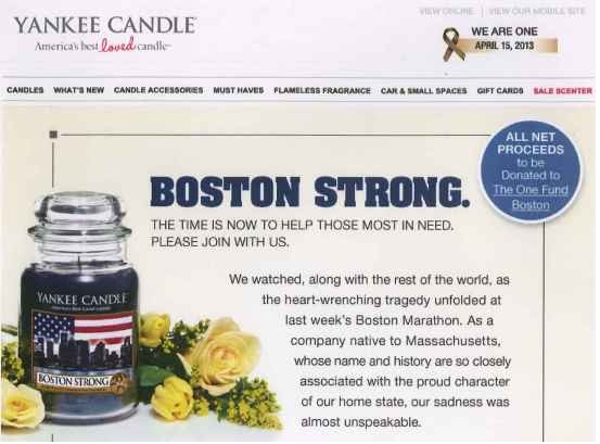 "Yankee Candle received both positive and negative social media attention in response to their promotion of the ""Boston Strong"" candle."