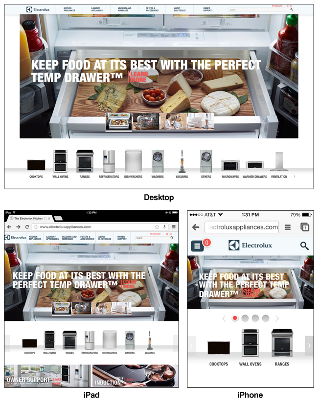 The Electrolux site displays on both desktop and mobile devices.