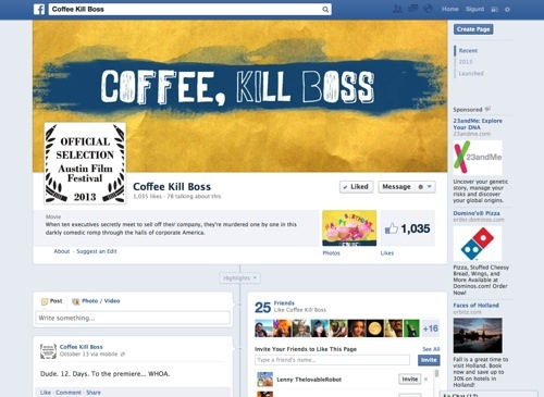 Facebook website: Coffee, Kill Boss.