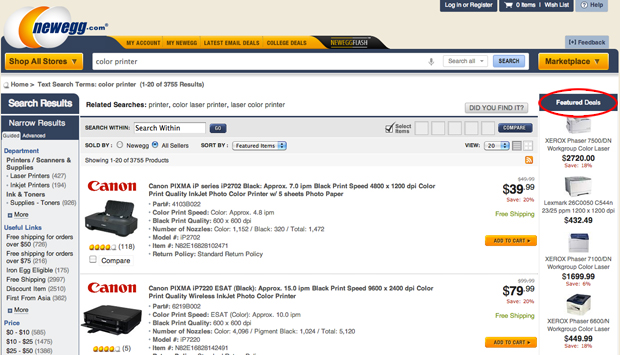 "The ""Featured Deals"" on the right side are actually ads from Hooklogic's Retail Search Exchange."