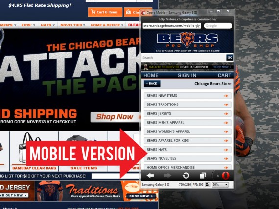 The Chicago Bears' online store is optimized for smartphones.