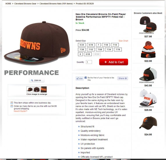 The Cleveland Browns' online store provides detailed product descriptions.