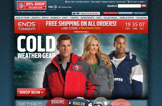 The NFL Shop uses on-site merchandising to encourage purchases.