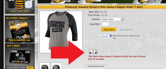 The Pittsburgh Steelers encourage sales with an estimated shipping date.