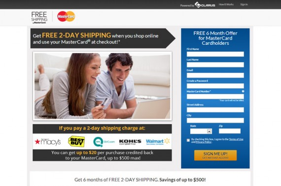 MasterCard has a new site in support of its free shipping offer.
