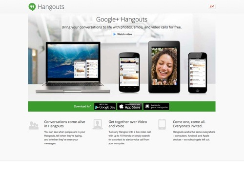 Google+ Hangouts tool