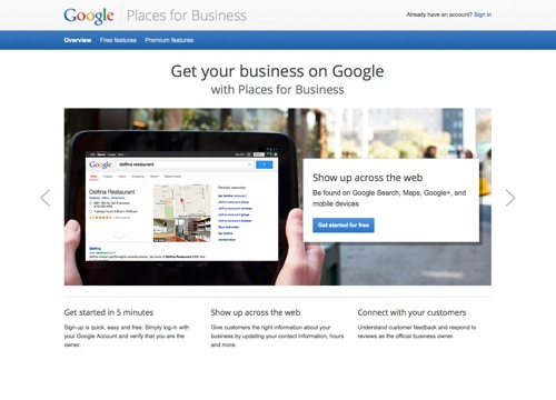 Places for Business website