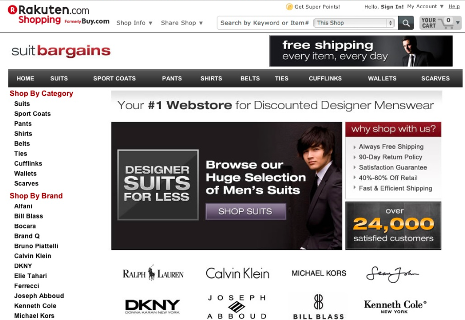 Rakuten Suit Bargains