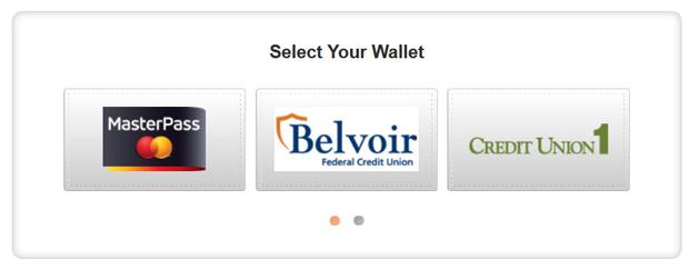 MasterPass wallet options.
