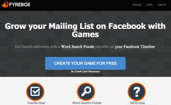 Fyrebox helps you create games for your Facebook Page.