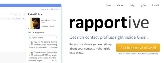 Rapportive is a simple social CRM app that integrates with Gmail.