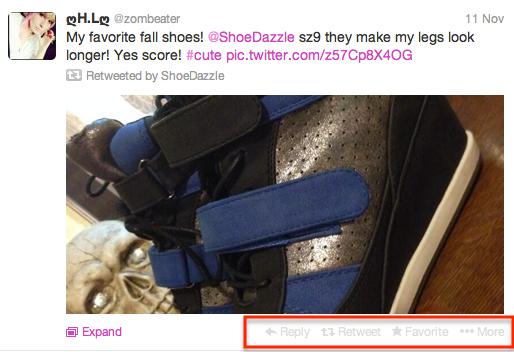 Twitter buttons shown below all tweets