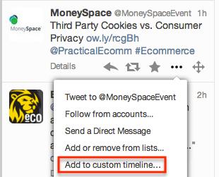 Twitter custom timeline add link