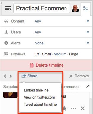Twitter custom timeline share options