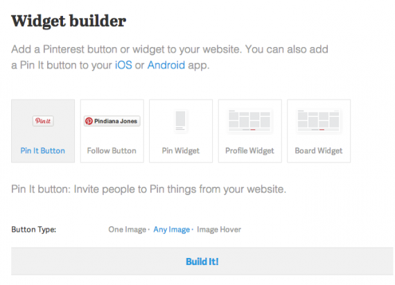 Pin It button widget builder