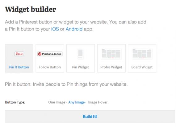 Pin It button widget builder
