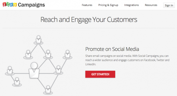Zoho Campaigns enables multichannel marketing campaigns that integrate with CRM applications.