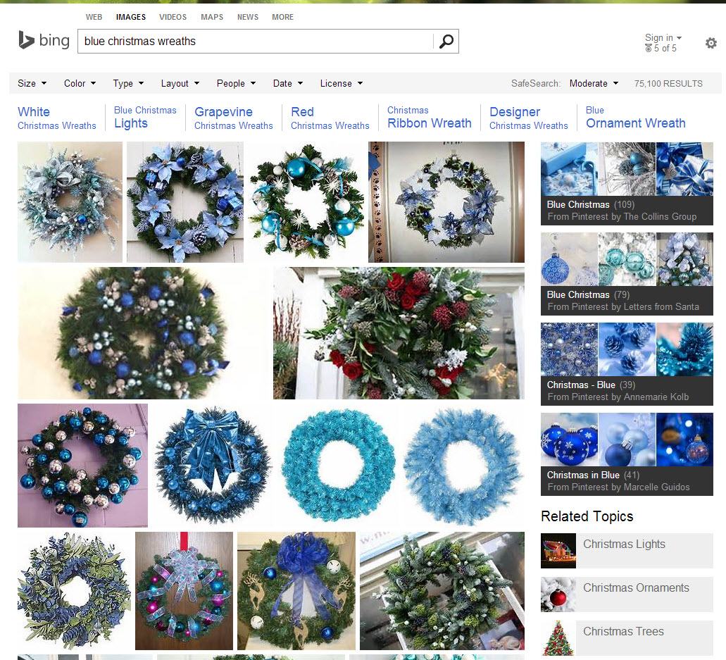 "Search results on Bing Images for ""blue Christmas wreaths."""