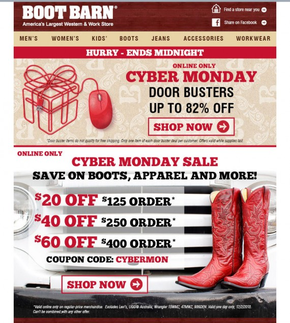 Boot Barn used frequency to get its Cyber Monday message out.
