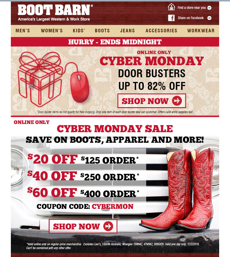 Boot Barn offer all type of coupons and deals such as online discounts, printable coupons, particular offers, promo codes and so on, you can enjoy the great discounts from Boot Barn! Click to save! People who shopped at Boot Barn also shop at.