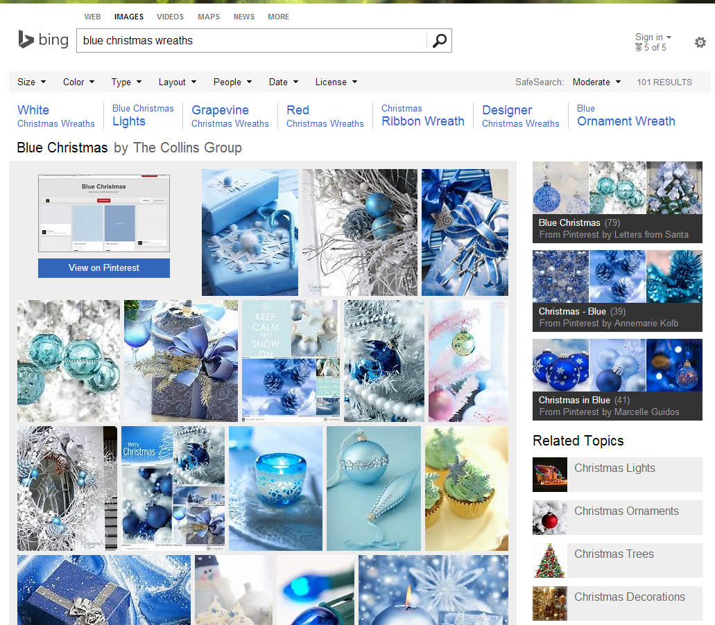 """Bing's board-specific page for """"Blue Christmas"""" Pinterest board."""