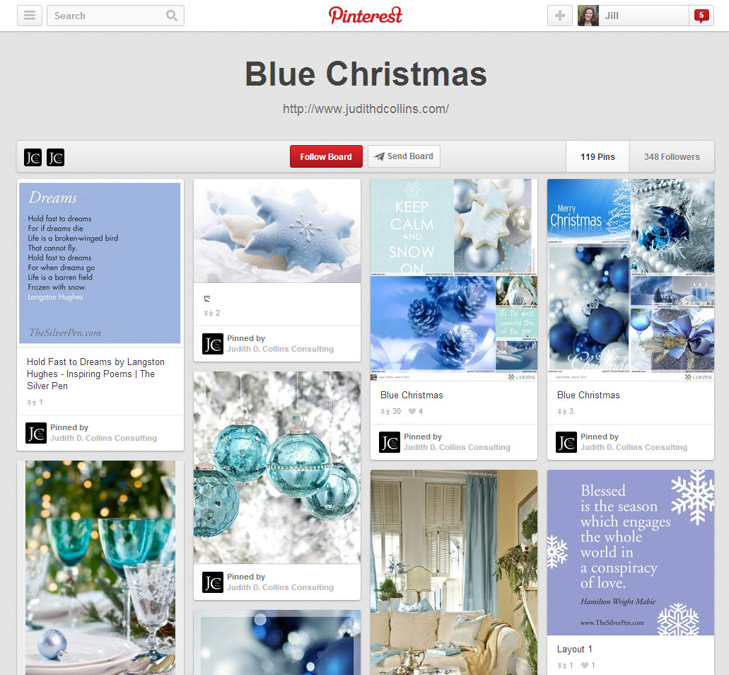 "The ""Blue Christmas"" board on Pinterest."