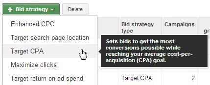Choosing the Target CPA strategy.