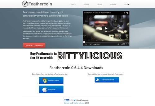 Feathercoin.com website