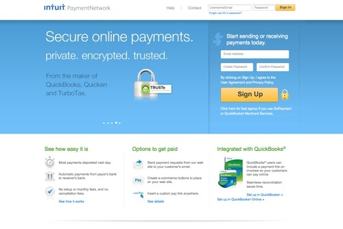 Intuit Payment Network website