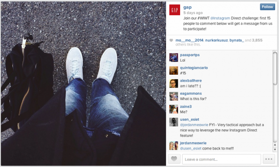 Gap Instagram Direct contest