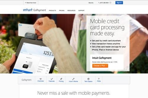Intuit GoPayment website