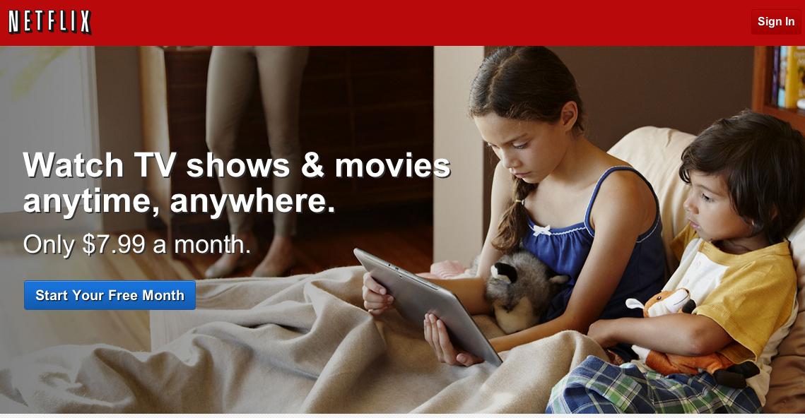 Netflix home page.